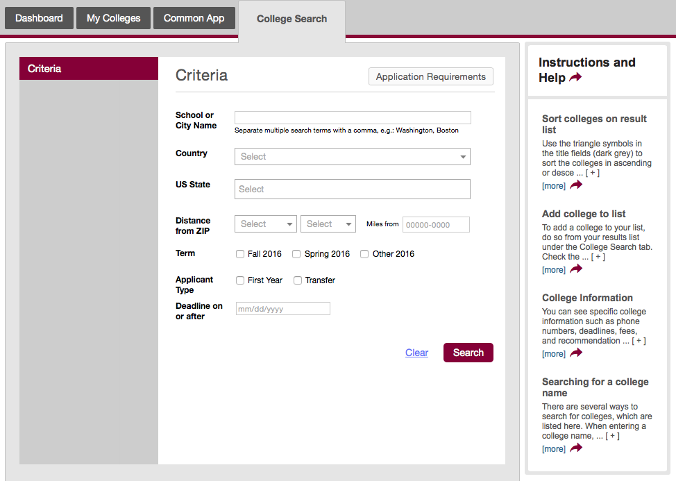 Common application for college?